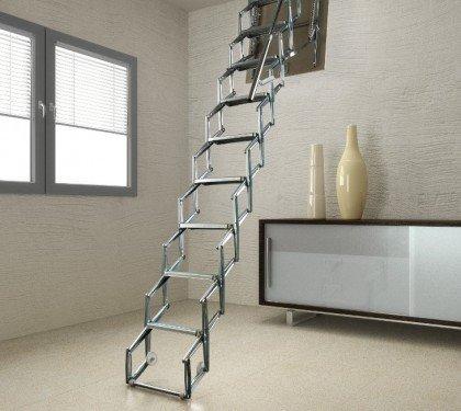 Выдвижная металлическая лестница на чердак Svezia