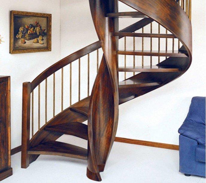 Винтовая деревянная лестница Emme 90