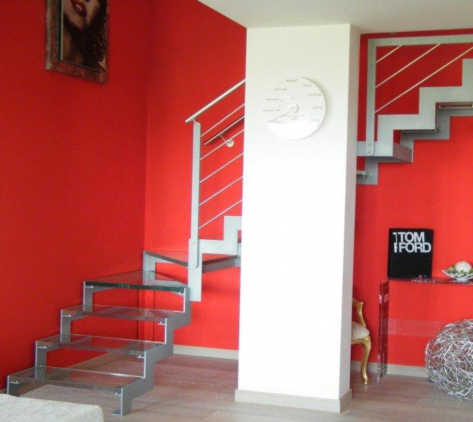 Маршевая лестница со стеклянными ступенями Laser 2 Vetro