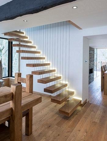 Консольная лестница с подсветкой